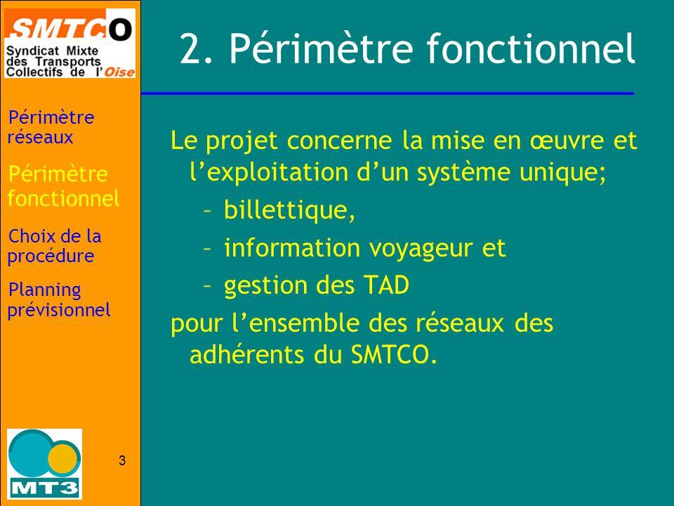 3 2. Périmètre fonctionnel Le projet concerne la mise en œuvre et lexploitation dun système unique; –billettique, –information voyageur et –gestion de