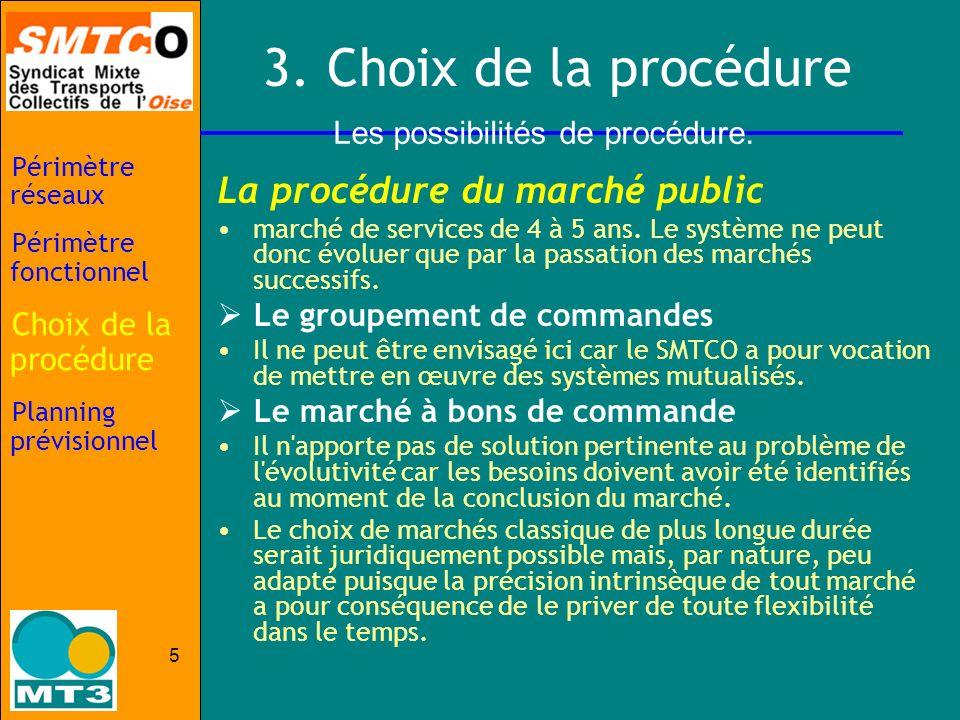 5 3. Choix de la procédure La procédure du marché public marché de services de 4 à 5 ans. Le système ne peut donc évoluer que par la passation des mar