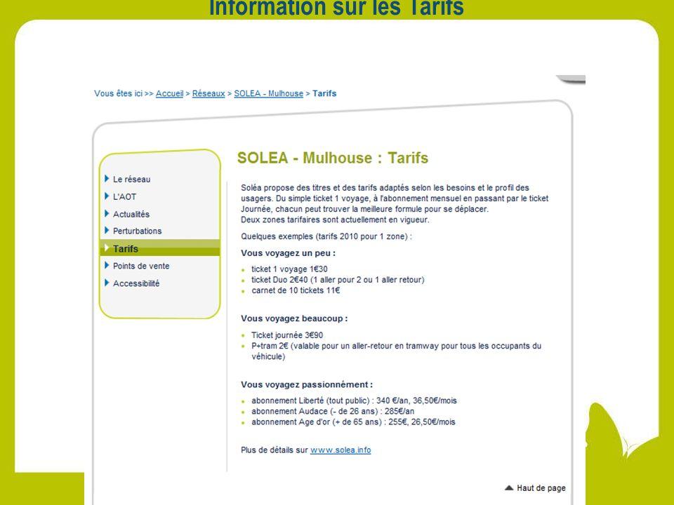 Information sur les Tarifs