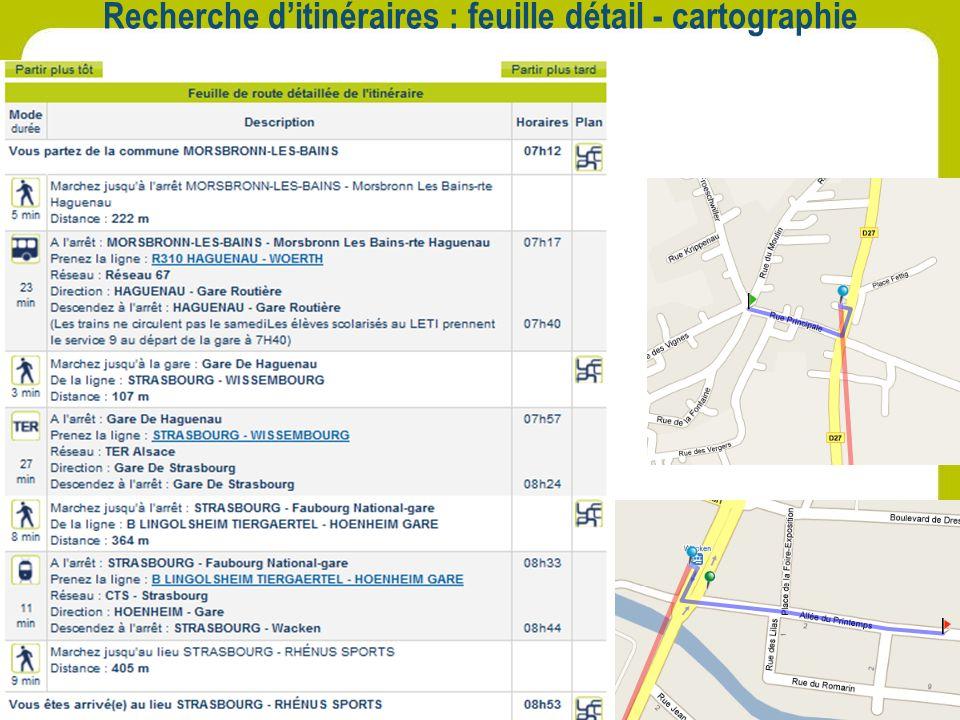 Recherche ditinéraires : feuille détail - cartographie