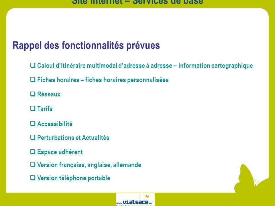 Site Internet – Services de base Rappel des fonctionnalités prévues Calcul ditinéraire multimodal dadresse à adresse – information cartographique Rése