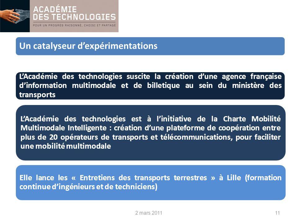 Un catalyseur dexpérimentations LAcadémie des technologies est à linitiative de la Charte Mobilité Multimodale Intelligente : création dune plateforme