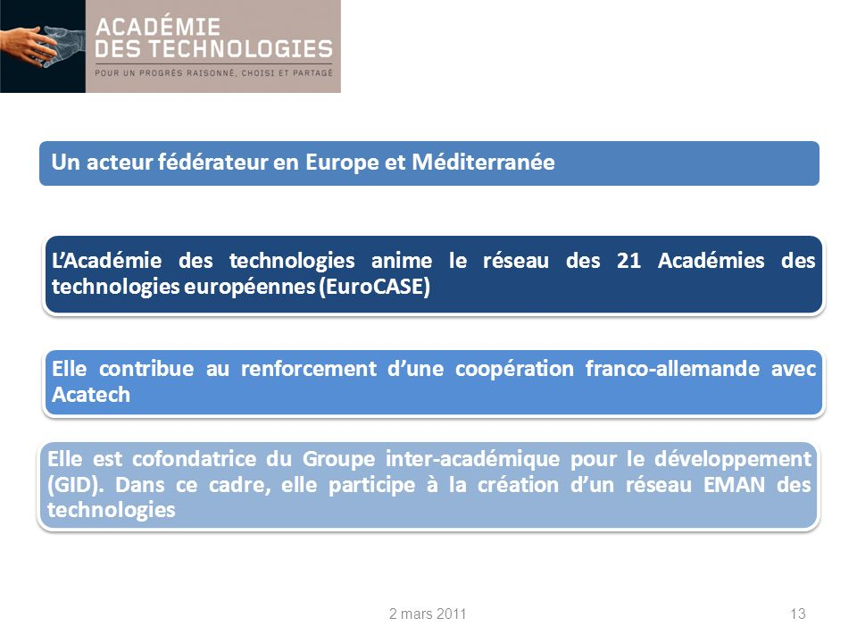 2 mars 201113 LAcadémie des technologies anime le réseau des 21 Académies des technologies européennes (EuroCASE) Elle contribue au renforcement dune coopération franco-allemande avec Acatech Elle est cofondatrice du Groupe inter-académique pour le développement (GID).