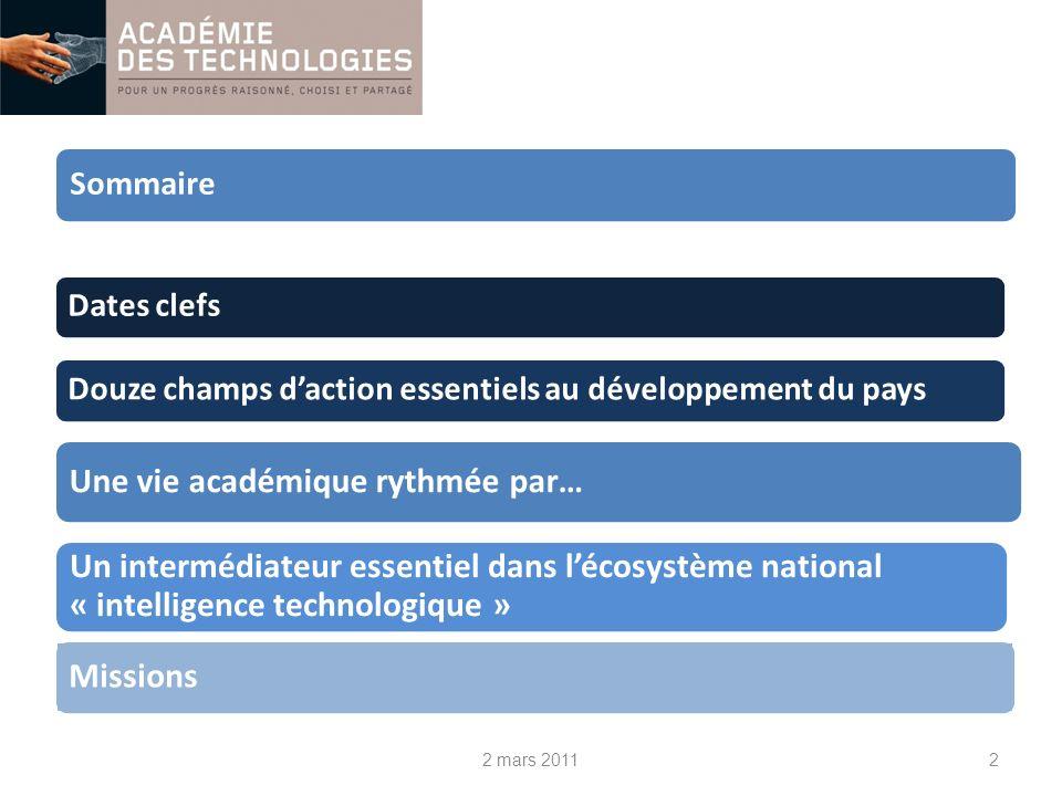 2 Sommaire Une vie académique rythmée par… Missions Un intermédiateur essentiel dans lécosystème national « intelligence technologique » Douze champs daction essentiels au développement du paysDates clefs