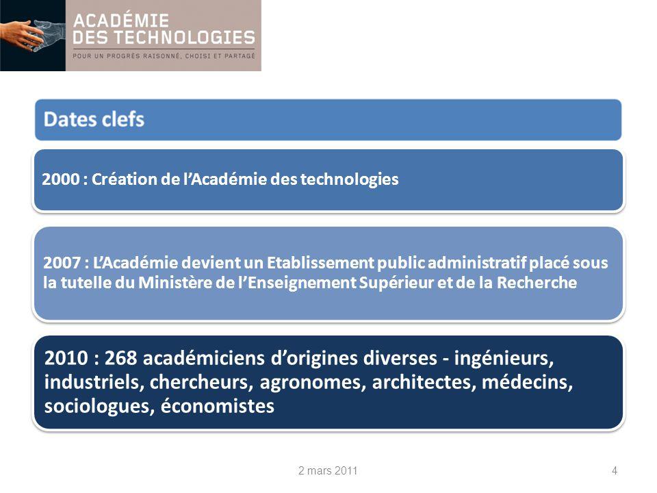 2000 : Création de lAcadémie des technologies 2007 : LAcadémie devient un Etablissement public administratif placé sous la tutelle du Ministère de lEn