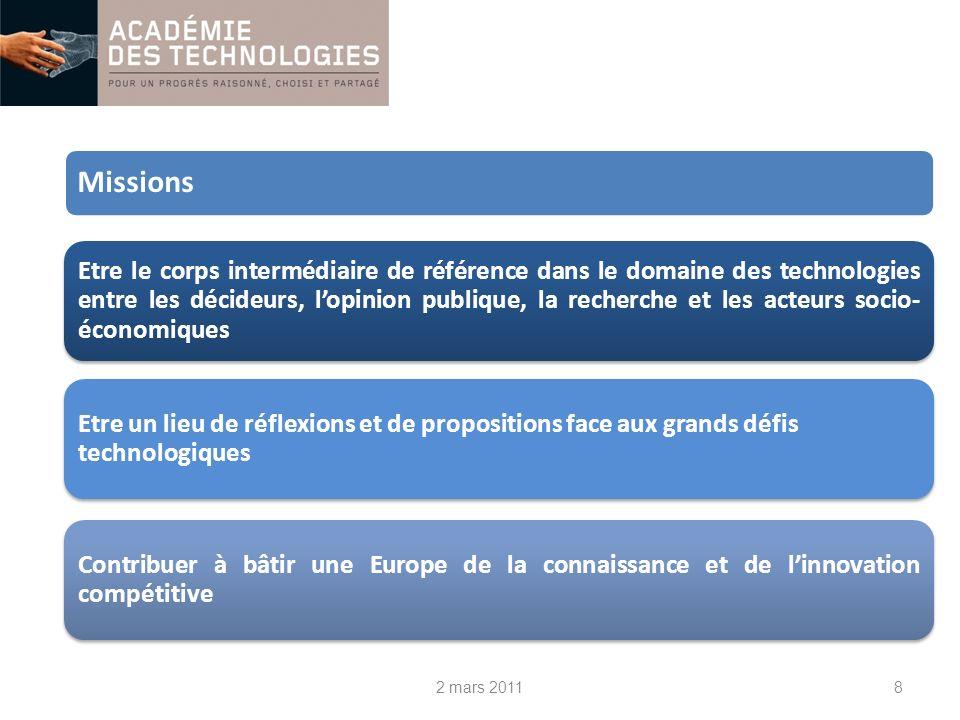 8 Etre le corps intermédiaire de référence dans le domaine des technologies entre les décideurs, lopinion publique, la recherche et les acteurs socio- économiques Etre un lieu de réflexions et de propositions face aux grands défis technologiques Contribuer à bâtir une Europe de la connaissance et de linnovation compétitive Missions 2 mars 2011