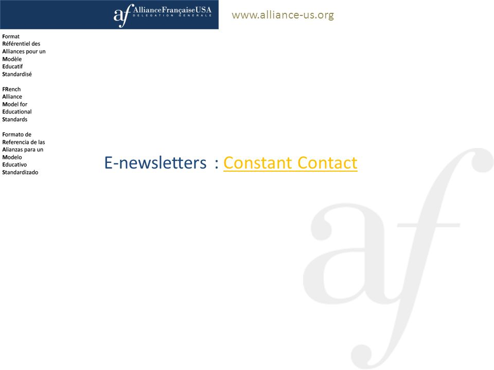 www.alliance-us.org E-newsletters : Constant ContactConstant Contact