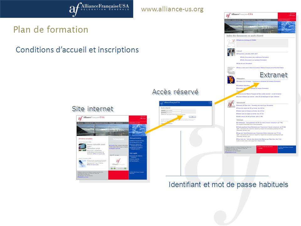 www.alliance-us.org Extranet Accès réservé Site internet Plan de formation Conditions daccueil et inscriptions Identifiant et mot de passe habituels