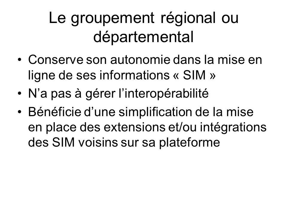 Le groupement régional ou départemental Conserve son autonomie dans la mise en ligne de ses informations « SIM » Na pas à gérer linteropérabilité Bénéficie dune simplification de la mise en place des extensions et/ou intégrations des SIM voisins sur sa plateforme
