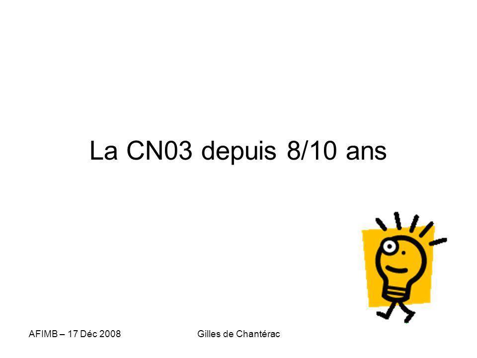 AFIMB – 17 Déc 2008Gilles de Chantérac La CN03 depuis 8/10 ans