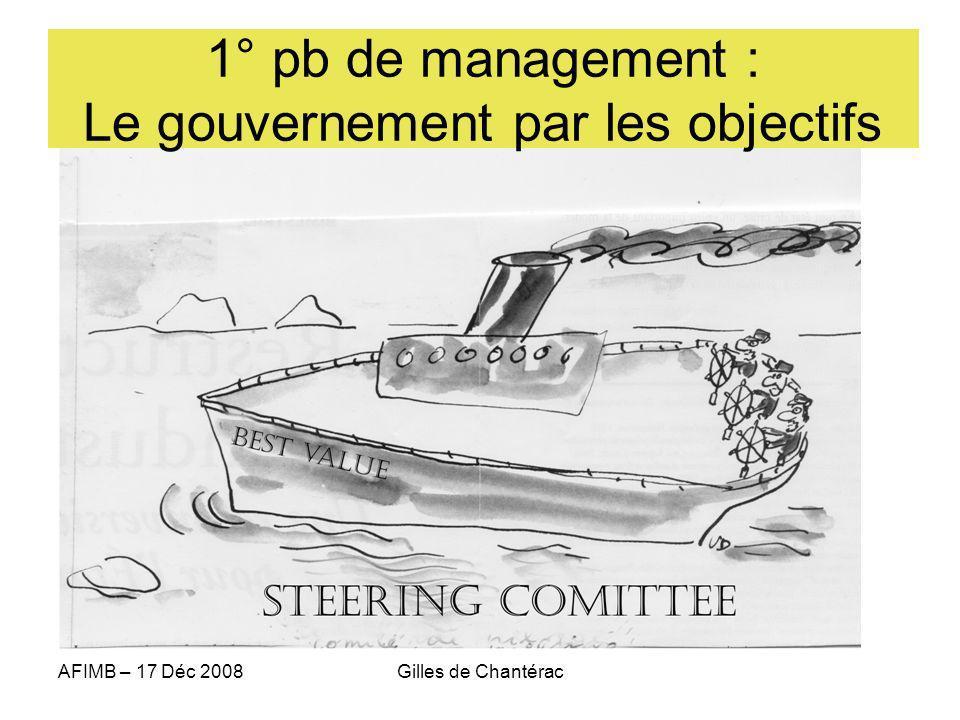 AFIMB – 17 Déc 2008Gilles de Chantérac 1° pb de management : Le gouvernement par les objectifs