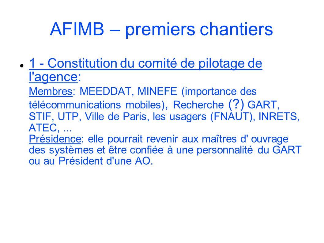 AFIMB – premiers chantiers 1 - Constitution du comité de pilotage de l'agence: Membres: MEEDDAT, MINEFE (importance des télécommunications mobiles), R
