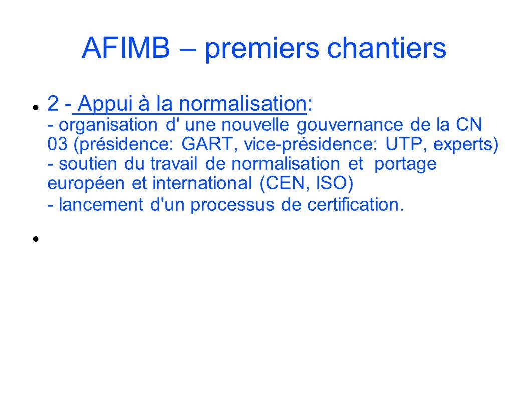 AFIMB – premiers chantiers 2 - Appui à la normalisation: - organisation d' une nouvelle gouvernance de la CN 03 (présidence: GART, vice-présidence: UT