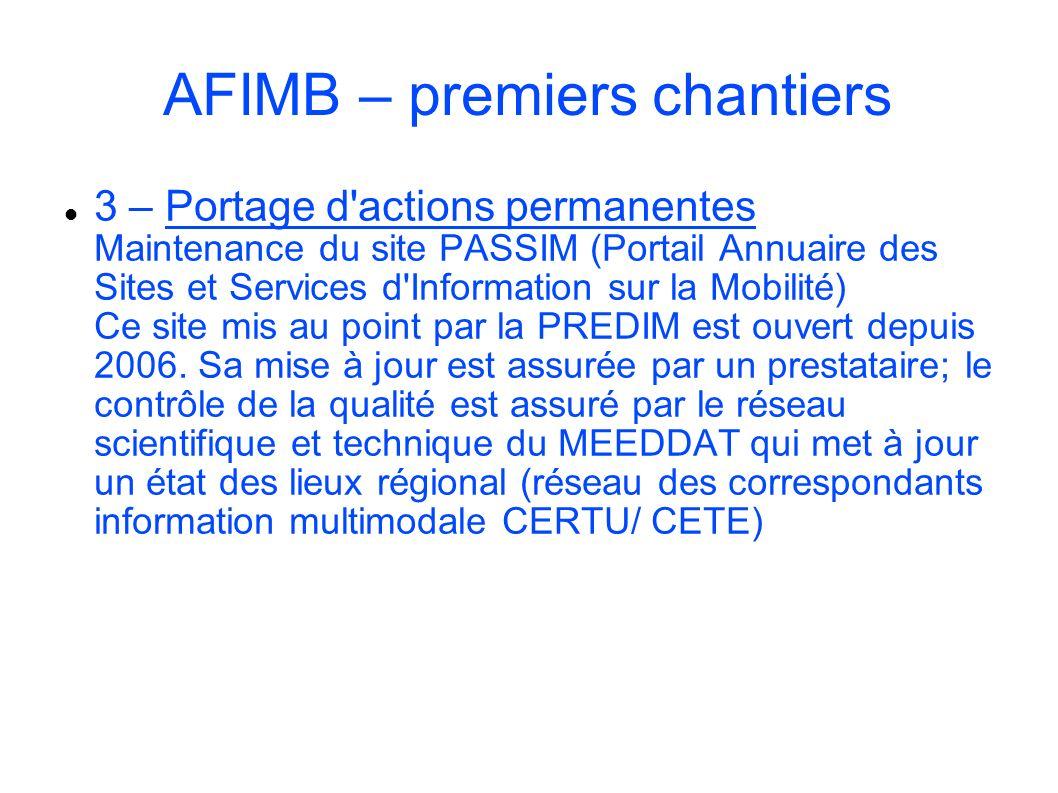 AFIMB – premiers chantiers 3 – Portage d'actions permanentes Maintenance du site PASSIM (Portail Annuaire des Sites et Services d'Information sur la M