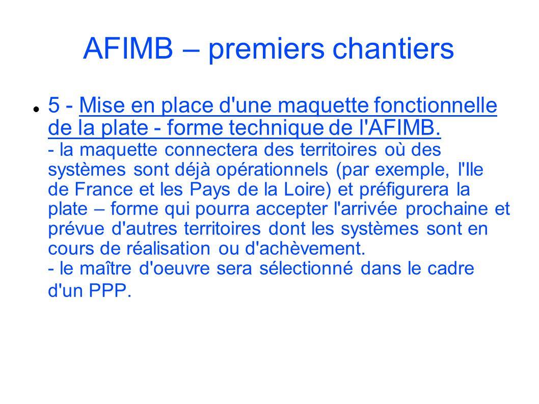 AFIMB – premiers chantiers 5 - Mise en place d'une maquette fonctionnelle de la plate - forme technique de l'AFIMB. - la maquette connectera des terri