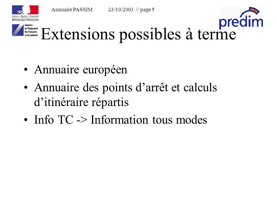 Annuaire PASSIM 23/10/2003 // page 5 Extensions possibles à terme Annuaire européen Annuaire des points darrêt et calculs ditinéraire répartis Info TC -> Information tous modes