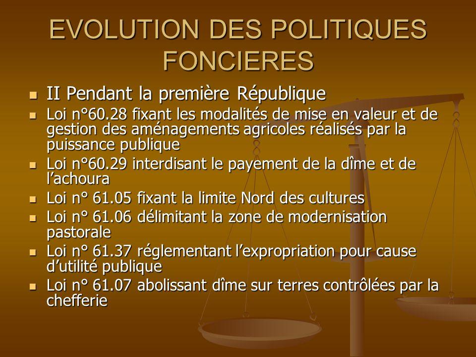 EVOLUTION DES POLITIQUES FONCIERES II Pendant la première République II Pendant la première République Loi n°60.28 fixant les modalités de mise en val