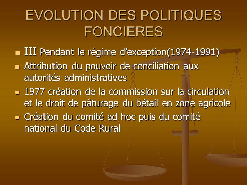 EVOLUTION DES POLITIQUES FONCIERES III Pendant le régime dexception(1974-1991) Attribution du pouvoir de conciliation aux autorités administratives 19
