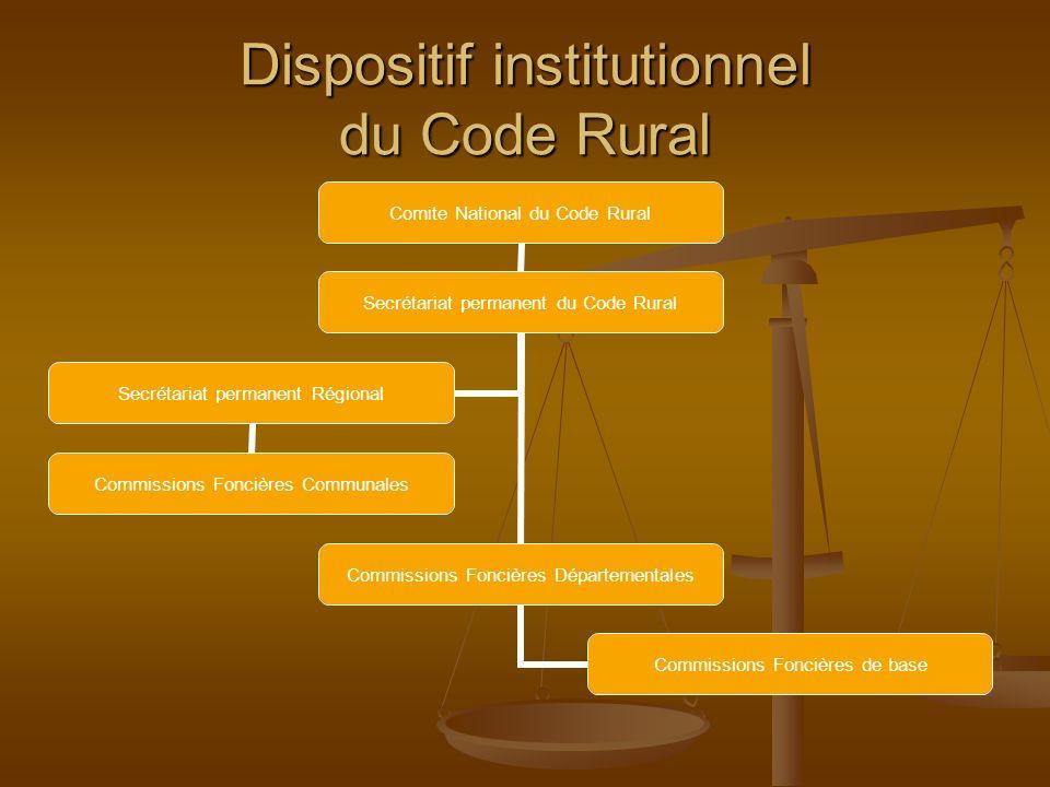 Dispositif institutionnel du Code Rural Comite National du Code Rural Secrétariat permanent du Code Rural Commissions Foncières Départementales Commis