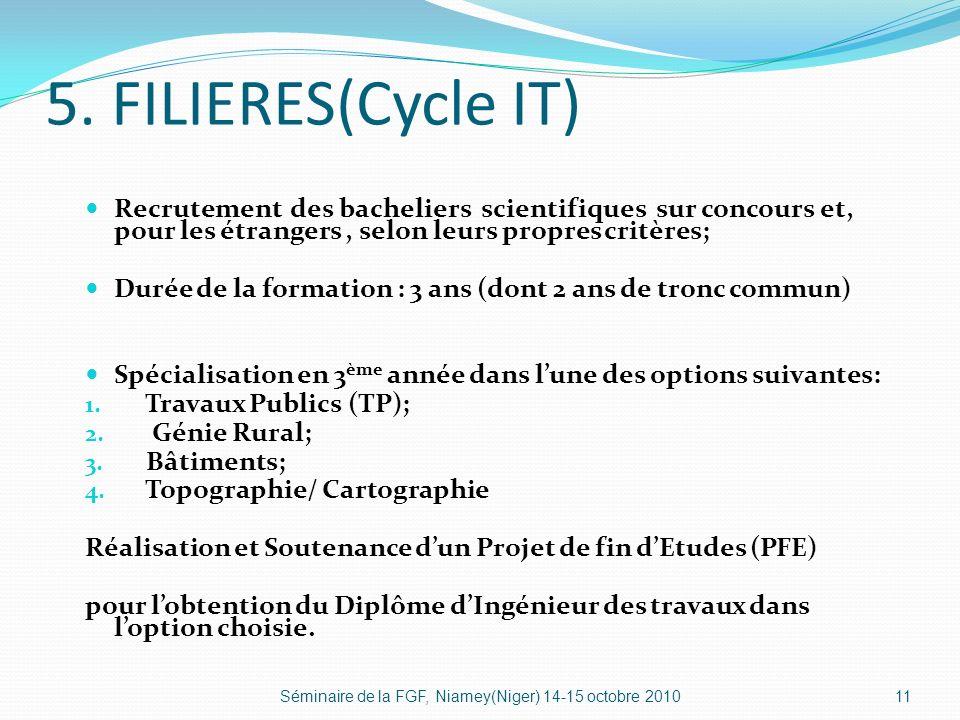 5. FILIERES(Cycle IT) Recrutement des bacheliers scientifiques sur concours et, pour les étrangers, selon leurs propres critères; Durée de la formatio