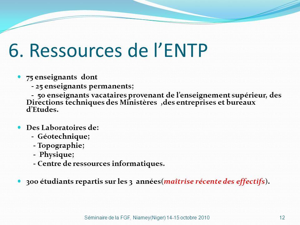 6. Ressources de lENTP 75 enseignants dont - 25 enseignants permanents; - 50 enseignants vacataires provenant de lenseignement supérieur, des Directio