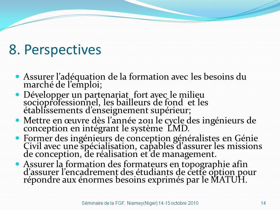 8. Perspectives Assurer ladéquation de la formation avec les besoins du marché de lemploi; Développer un partenariat fort avec le milieu socioprofessi