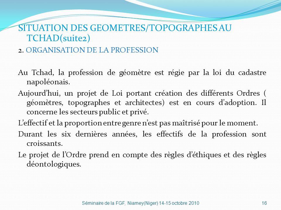 SITUATION DES GEOMETRES/TOPOGRAPHES AU TCHAD(suite2) 2.