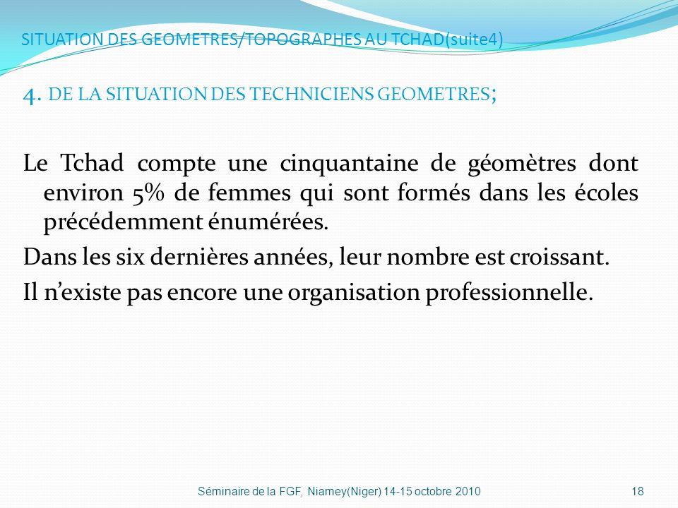 SITUATION DES GEOMETRES/TOPOGRAPHES AU TCHAD(suite4) 4.