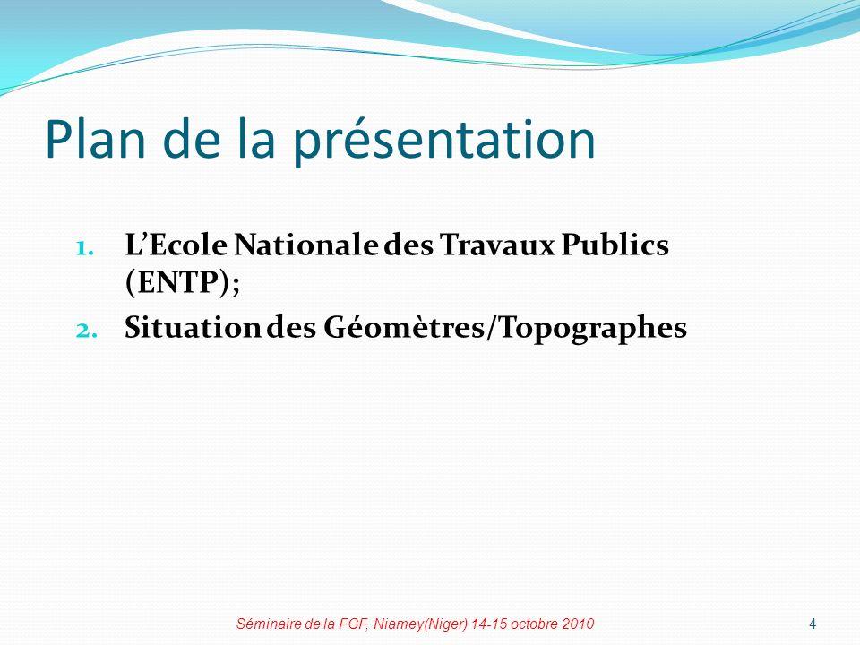 Plan de la présentation 1.LEcole Nationale des Travaux Publics (ENTP); 2.