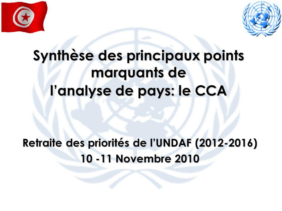 Synthèse des principaux points marquants de lanalyse de pays: le CCA Retraite des priorités de lUNDAF (2012-2016) 10 -11 Novembre 2010