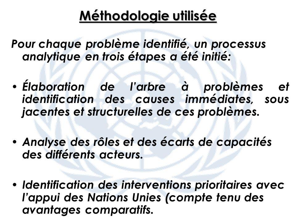 Méthodologie utilisée Pour chaque problème identifié, un processus analytique en trois étapes a été initié: Élaboration de larbre à problèmes et identification des causes immédiates, sous jacentes et structurelles de ces problèmes.