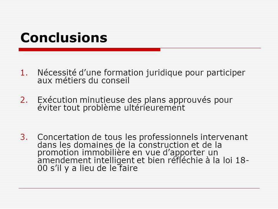 Conclusions 1.Nécessité dune formation juridique pour participer aux métiers du conseil 2.Exécution minutieuse des plans approuvés pour éviter tout pr