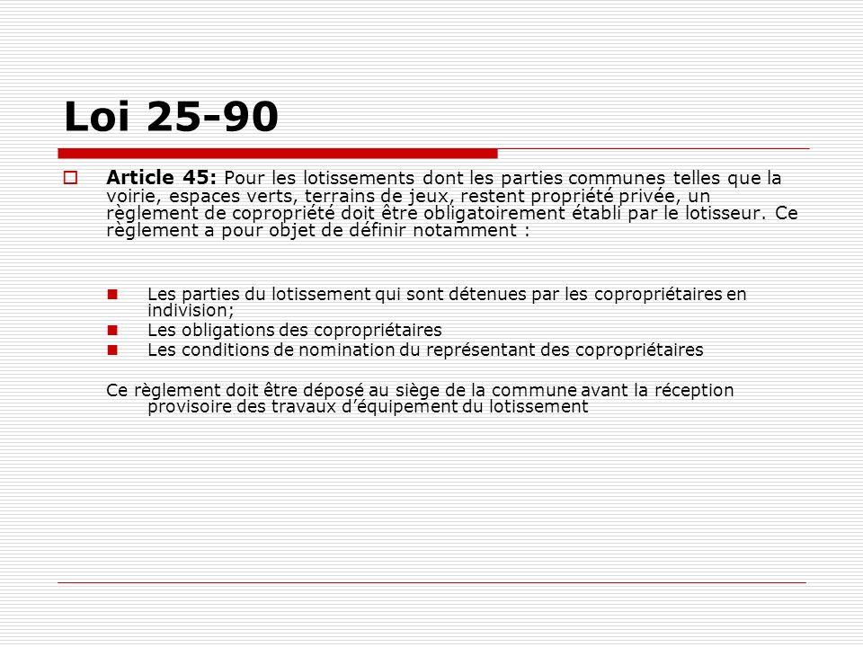 Loi 25-90 Article 45: Pour les lotissements dont les parties communes telles que la voirie, espaces verts, terrains de jeux, restent propriété privée,