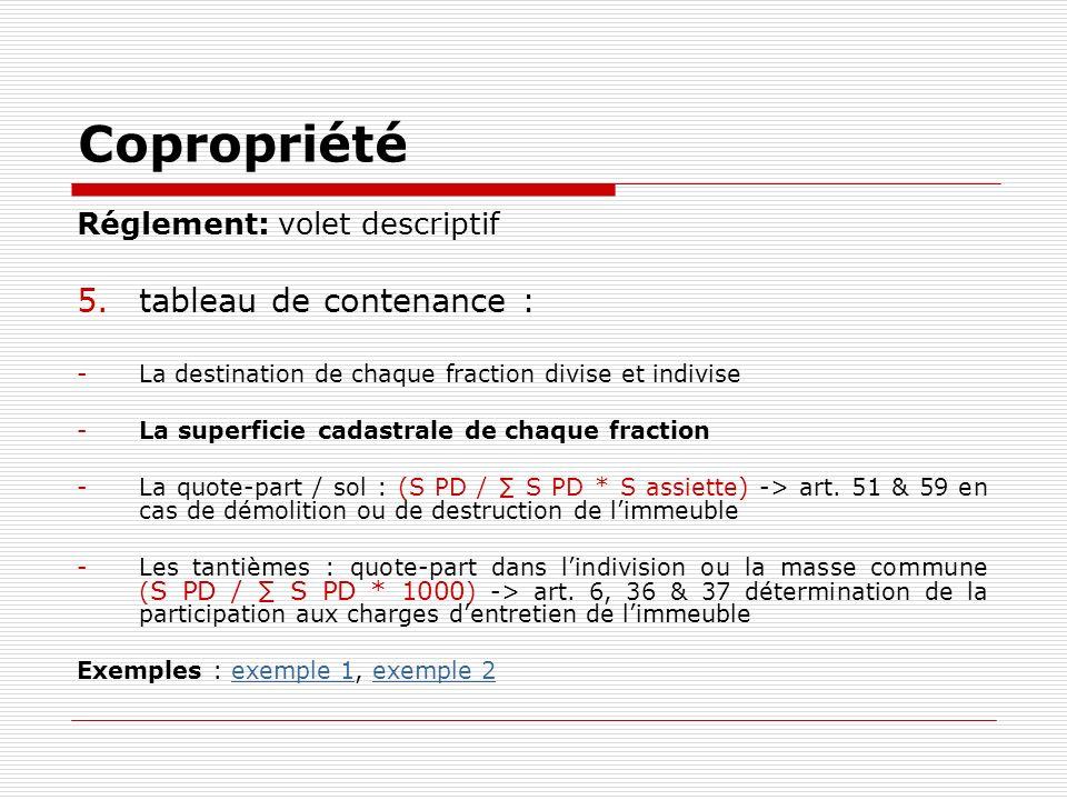 Copropriété Réglement: volet descriptif 5.tableau de contenance : -La destination de chaque fraction divise et indivise -La superficie cadastrale de c