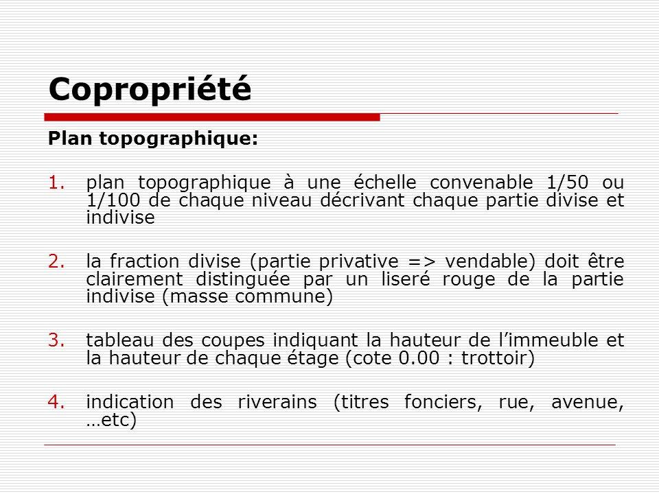 Copropriété Plan topographique: 1.plan topographique à une échelle convenable 1/50 ou 1/100 de chaque niveau décrivant chaque partie divise et indivis