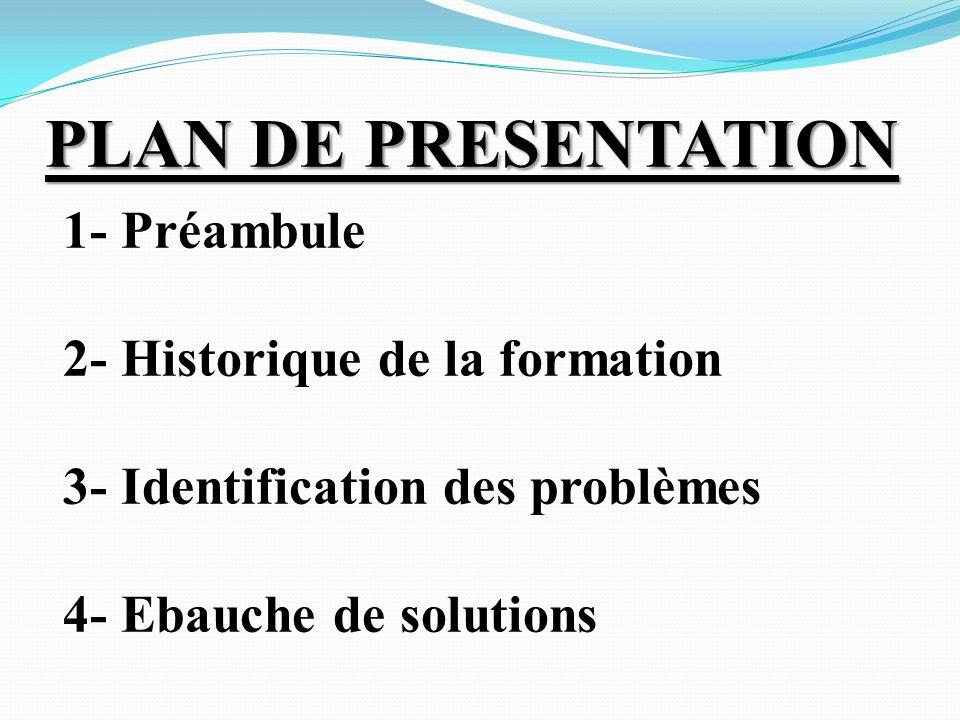 PLAN DE PRESENTATION PLAN DE PRESENTATION 1- Préambule 2- Historique de la formation 3- Identification des problèmes 4- Ebauche de solutions