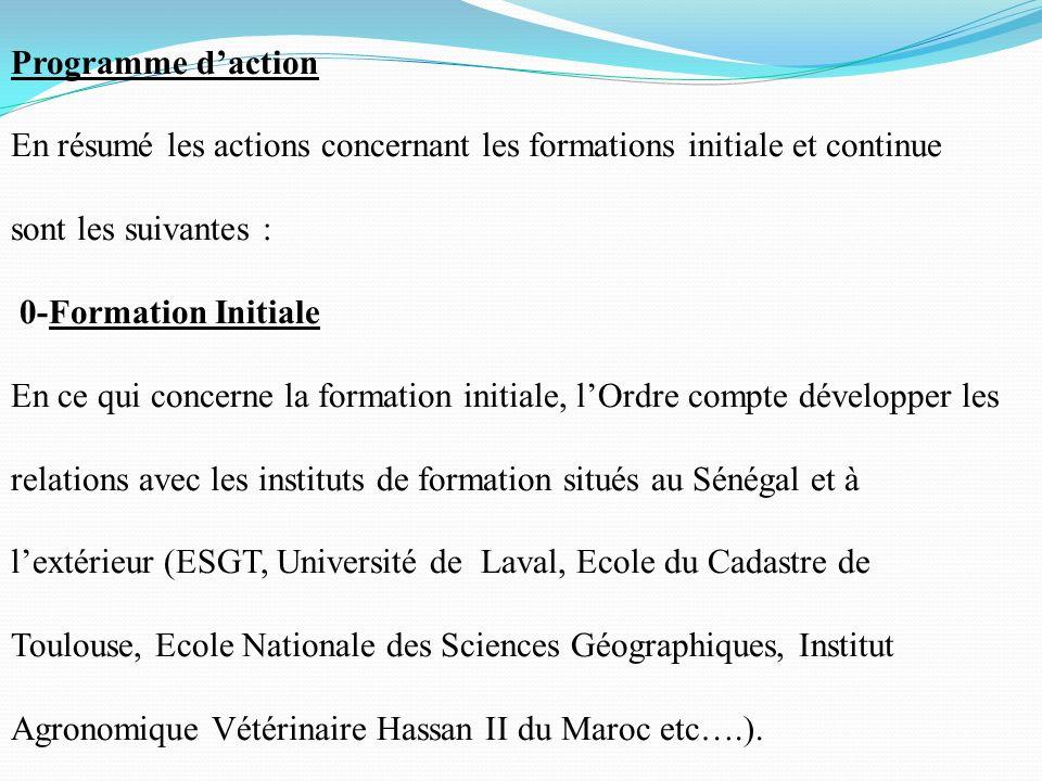 Programme daction En résumé les actions concernant les formations initiale et continue sont les suivantes : 0-Formation Initiale En ce qui concerne la