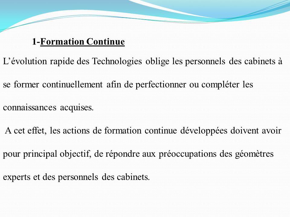 1-Formation Continue Lévolution rapide des Technologies oblige les personnels des cabinets à se former continuellement afin de perfectionner ou complé