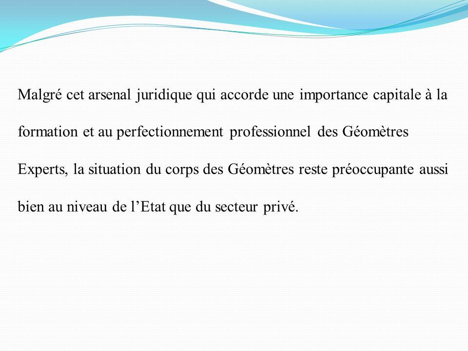 Malgré cet arsenal juridique qui accorde une importance capitale à la formation et au perfectionnement professionnel des Géomètres Experts, la situati