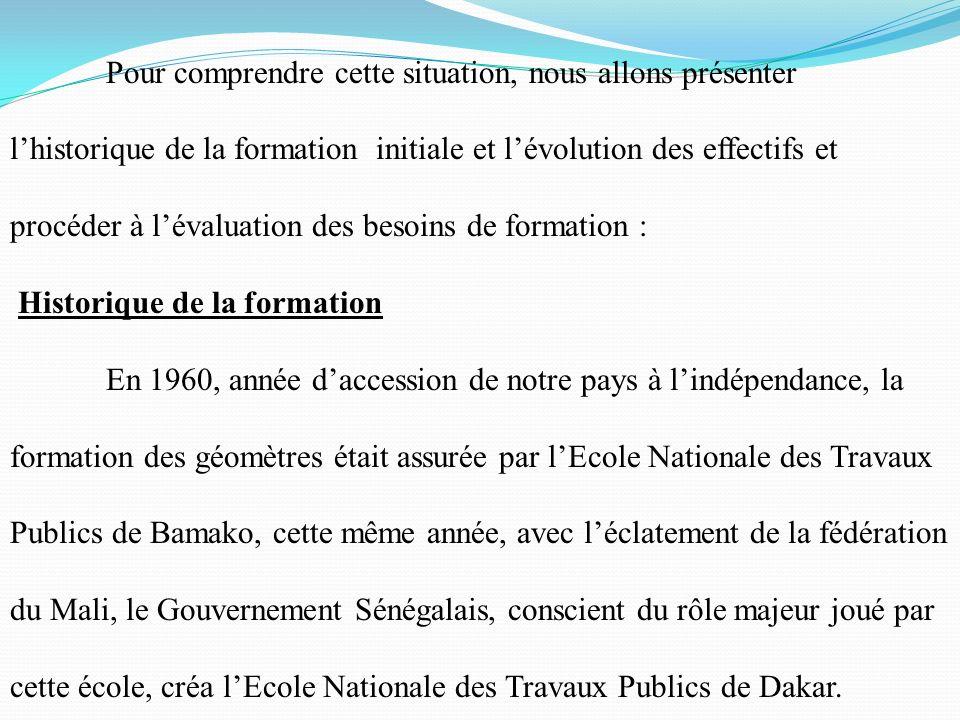 Ainsi, les pouvoirs publics, les acteurs du secteur du Bâtiment et des travaux publics et lOrdre National des Géomètres Experts du Sénégal se trouvent confrontés à un triple défi : -Renouvellement du personnel dencadrement -Obligation de formation continue du personnel dencadrement -Elaboration de plans de carrière du personnel