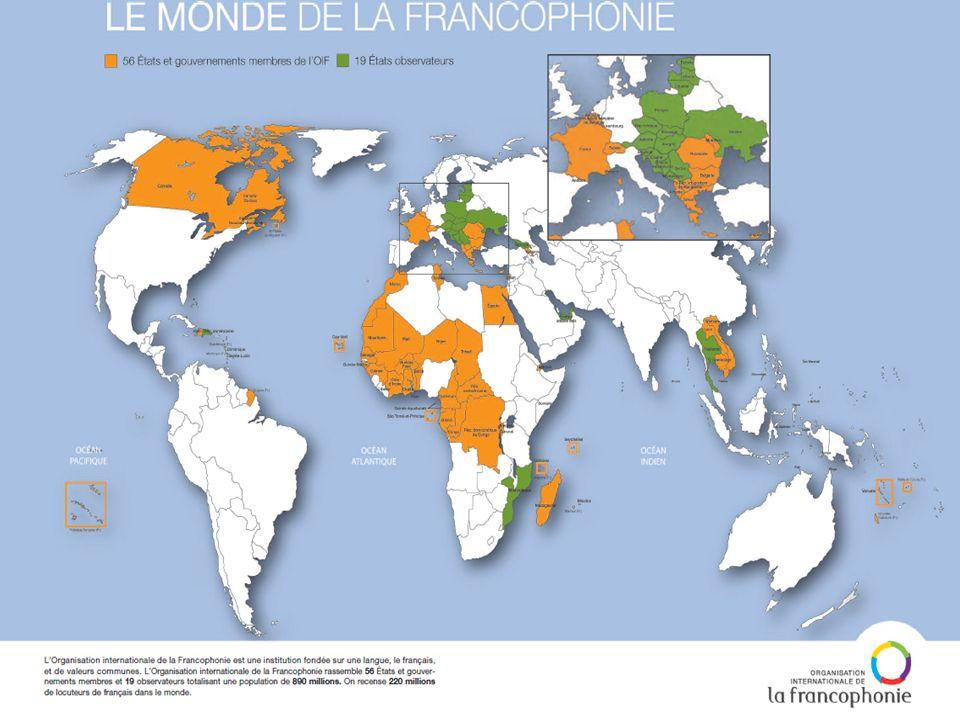 LOIF en quelques chiffres 220 millions de francophones dans le monde - dont 96,2 millions en Afrique 60% des francophones ont moins de 30 ans Le français, 3 e langue de la Toile 900 000 professeurs de français dans le monde 20 mars 1970 : naissance de la Francophonie intergouvernementale LOIF : 75 Etats et gouvernements La Francophonie : 890 millions dhabitants LOIF : plus du tiers des Etats membres de lOnu Espace francophone : 19% du commerce mondial des marchandises Le français, langue officielle dans 32 Etats membres TV5MONDE est diffusée dans près de 200 pays 55 millions de téléspectateurs : laudience hebdomadaire de TV5MONDE 31 organisations internationales et régionales partenaires de lOIF Les membres de lOIF ont tous signé la convention sur les droits de lenfant 77 parlements ou organisations interparlementaires francophones 710 établissements francophones denseignement supérieur et de recherche 184 villes de 37 pays rassemblées dans lAssociation des maires francophones