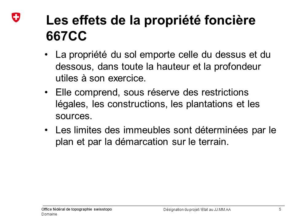 5 Office fédéral de topographie swisstopo Domaine Désignation du projet / Etat au JJ.MM.AA Les effets de la propriété foncière 667CC La propriété du s