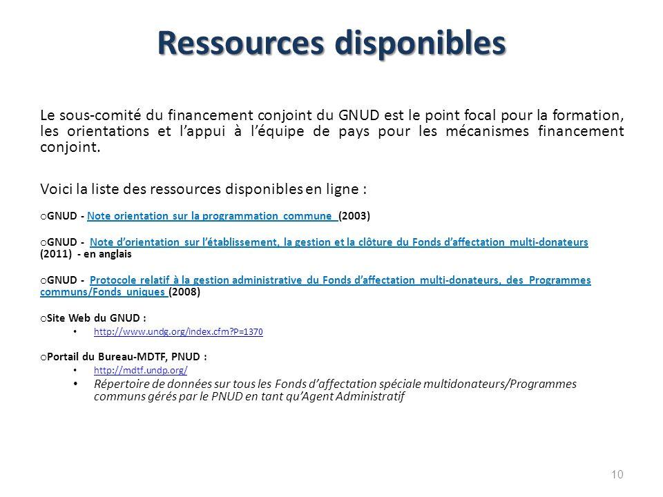 Ressources disponibles Le sous-comité du financement conjoint du GNUD est le point focal pour la formation, les orientations et lappui à léquipe de pa