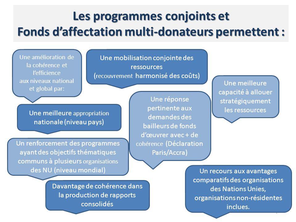7 Une amélioration de la cohérence et lefficience aux niveaux national et global par: Davantage de cohérence dans la production de rapports consolidés