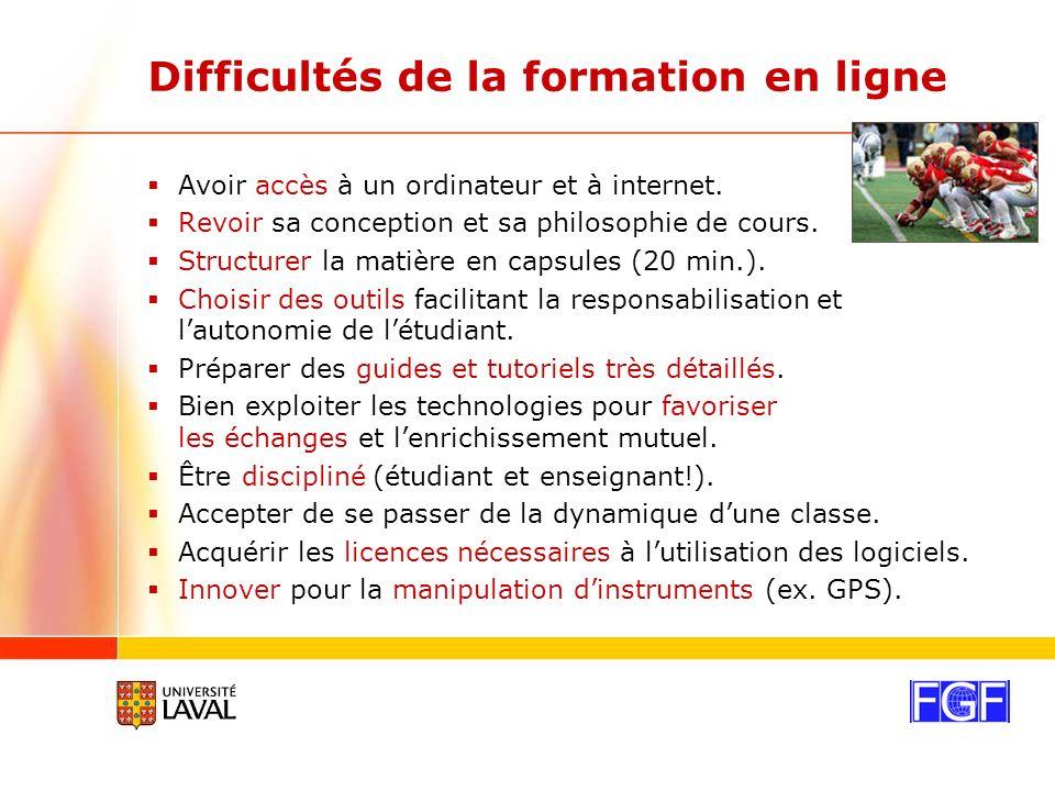 Difficultés de la formation en ligne Avoir accès à un ordinateur et à internet.