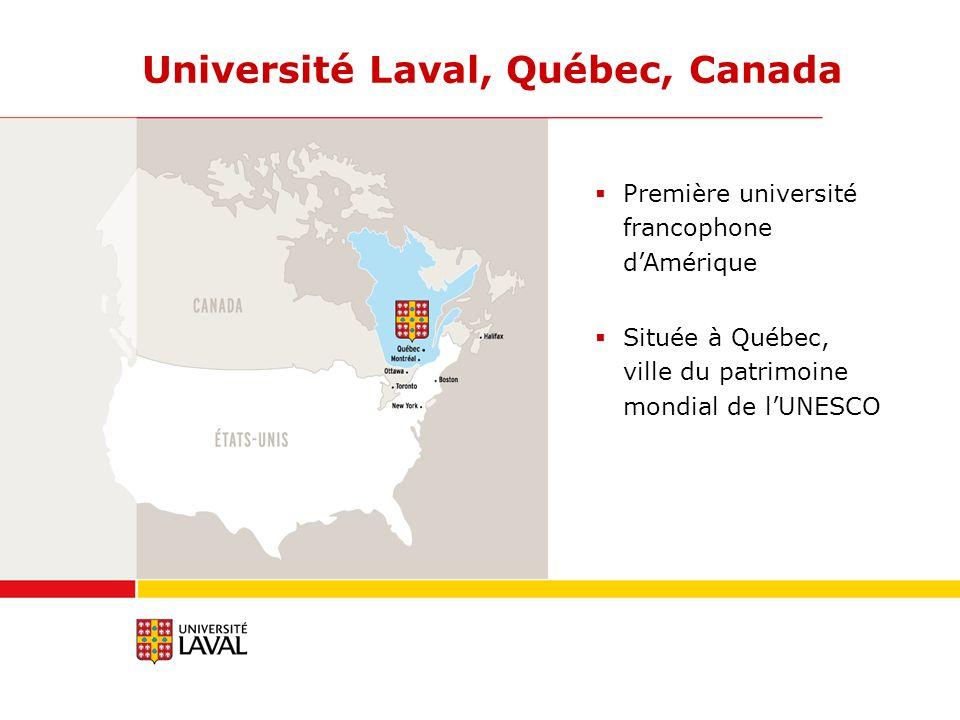 Université Laval, Québec, Canada Première université francophone dAmérique Située à Québec, ville du patrimoine mondial de lUNESCO