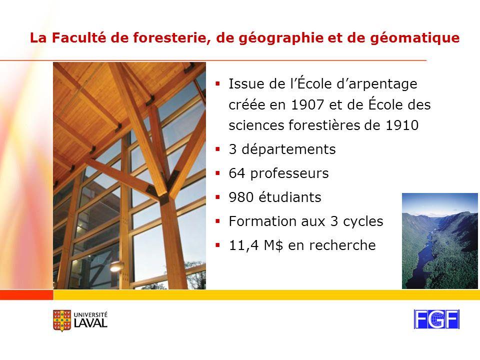 La Faculté de foresterie, de géographie et de géomatique Issue de lÉcole darpentage créée en 1907 et de École des sciences forestières de 1910 3 départements 64 professeurs 980 étudiants Formation aux 3 cycles 11,4 M$ en recherche
