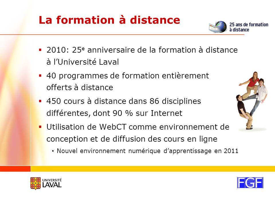 La formation à distance 2010: 25 e anniversaire de la formation à distance à lUniversité Laval 40 programmes de formation entièrement offerts à distance 450 cours à distance dans 86 disciplines différentes, dont 90 % sur Internet Utilisation de WebCT comme environnement de conception et de diffusion des cours en ligne Nouvel environnement numérique dapprentissage en 2011