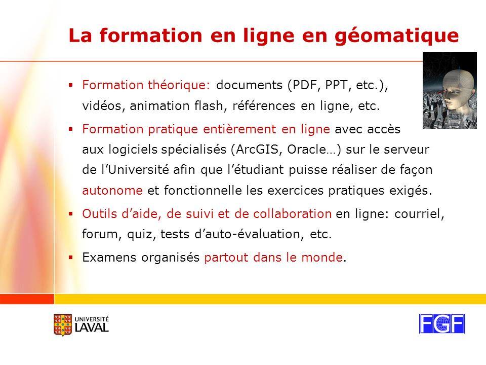 La formation en ligne en géomatique Formation théorique: documents (PDF, PPT, etc.), vidéos, animation flash, références en ligne, etc.