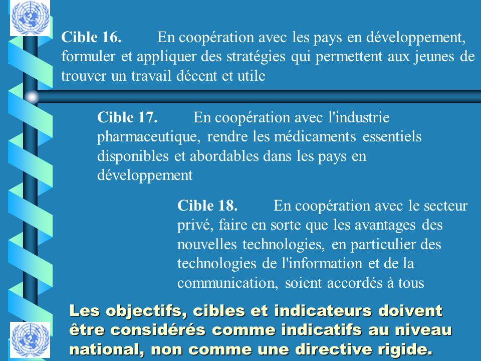 Cible 16.En coopération avec les pays en développement, formuler et appliquer des stratégies qui permettent aux jeunes de trouver un travail décent et